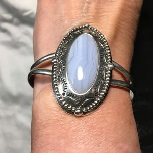 Jewelry - Blue Lace Agate Sterling Cuff Bracelet - Beautiful